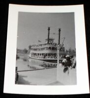 Disneyland 1955 Kodak Velox Photo Walt Disney Mark Twain Dock & waiting crowd