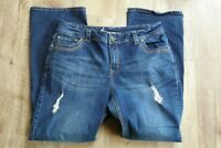 Lane Bryant Women Jeans Slim Boot Blue Distressed Size 18