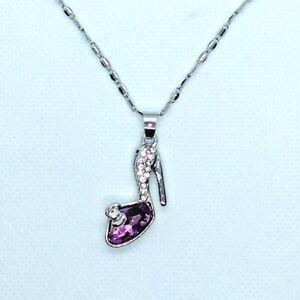 Ladies Women Fashion Necklace Jewelry Shoe Pendant Purple Silver Color Chain