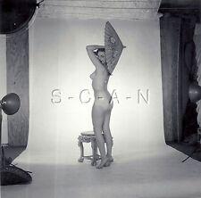 Original Vintage 1960s Amateur Artistic Studio Nude RP- Woman- Umbrella- Butt