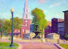 Boston FOUNTAIN IN SQUARE cityscape Principato 12x16 Giclee Canvas