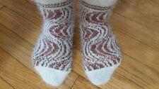 Handmade thick warm winter Socks shoe size 6 7  orange red