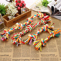 Pet Puppy Dog Cotton Knot Braided Colorful Teeth Clean Chew Toys Rope