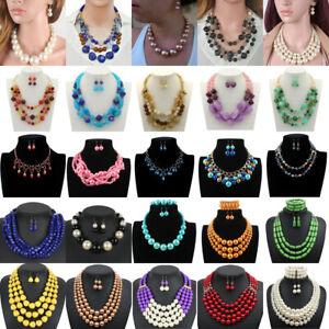 Womens Multilayer Pearl Necklace Earrings Bib Choker Chunky Statement Pendant