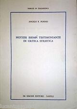 ANGELO PUPINO NOTIZIE ESEMPI TESTIMONIANZE DI CRITICA STILISTICA DE SIMONE 1985