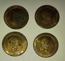 "Vintage President 1"" Coins LOT of 4 Washington Jackson Garfield Pierce G/VG 3.0"