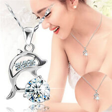 Womens Jumping Dolphins Pendant Necklace Silver Rhinestone Love Souvenir Jewelry
