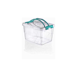 LARGE 13L CARRY HANDY BOX SECURE LID STRONG HANDLE CLEAR PLASTIC CONTAINER UK