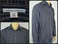 Banana Republic Black & Gray Striped L/S Btn Front Dress Shirt Mens Med 15 15.5