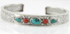 TURQUOISE & CORAL BANGLE (CUFF) STERLING SILVER EIGHT TREASURE OF BUDDHISM SIGN