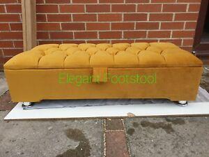 Chesterfield Mustard Plush Soft Velvet Foot Stool,Bench,Ottoman Storage BOX