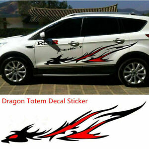 Car Body Side Flame Dragon Totem Personalized Vinyl Decal Graphics Sticker *