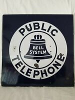 Vintage Porcelain Bell System Public Telephone Double Sided, Public Phone Sign