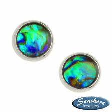 Paua Abalone Shell Stud Earrings Womens Silver Fashion Jewellery Gift Boxed