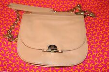 Tory Burch Camel Leather Small round Satchel Shoulder Bag Gold Chain Strap NWOT