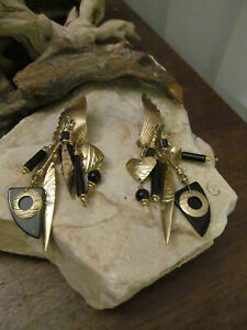 Vintage Tabra Rare Collectors Black Onyx Wing Feather Gold Dangling Earrings