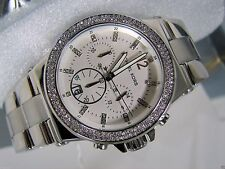 NEW MICHAEL KORS MK5385 SILVER CRYSTL WHITE STAINLESS STEEL CHRONO WOMEN WATCH