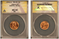 1955-D 1C FS-101 / DDO-001 / WDDO-001 ANACS MS65RB BU Lincoln Wheat Cent DDO!!!