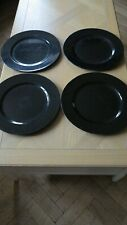 4 BLACK PLASTIC CHARGERS PLATE COASTERS CHRISTMAS DECORATIVE DINNER PLACEMATS
