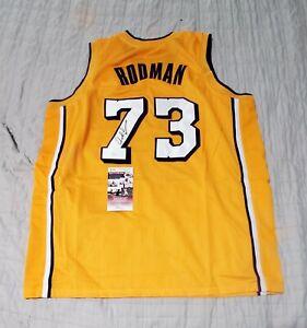 Lakers DENNIS RODMAN Signed Autographed Basketball Jersey JSA COA XL