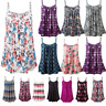 Women Boho Floral Swing Vest Sleeveless Top Strappy Cami Ladies Plus Size Flared