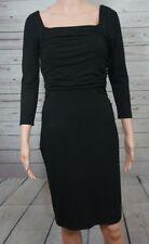 Ann Taylor Black Dress Size 0 3/4 Sleeves Ruched Stretch $118 Little Black Dress