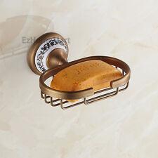 Wall Mount Shower Soap Storage Holder Antique Brass Soap Dish Rack Ceramic Base