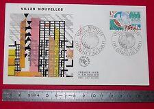 ENVELOPPE 1er JOUR PHILATELIE 1975 VILLES NOUVELLES EVRY CERGY ISLE D'ABEAU
