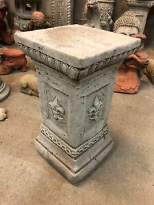 Pedestal plinth column Garden concrete stone ornament solid heavy Fleur de lis
