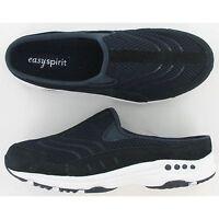 Women Easy Spirit TRAVEL TIME Navy Rubber Sole Slip-On Mule Walking Shoes