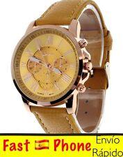 Reloj mujer Geneva. oferta 4x3. caja dorada con Números romanos. color amarillo.
