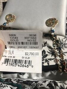 NEW NWT $2790 GUCCI GG long hoop chain earrings -18K yellow gold semi precious