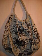 Forever 21 Gray Black French Bicycle Girl Print Sweatshirt Material Handbag Hobo