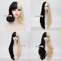 Black Mixed Blonde Women Straight/Curly/Wavy Short/ Long Anime Cosplay Wigs+Cap