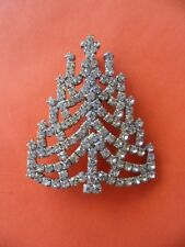 VINTAGE SILVER RHINESTONE CZECH GLASS CRYSTAL CHRISTMAS TREE XMAS BROOCH PIN