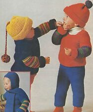 "Chunky Baby Sweater, Hat, Leggings and Hat Scarf Knitting Pattern 18-22"" 770"