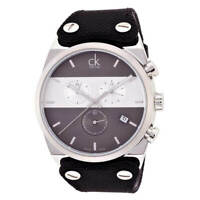 Calvin Klein Men's Watch Eager Chronograph Black Fabric Strap K4B371B3