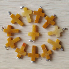 Fashion Natural yellow jade Cross Silver P Beads Pendants 50pcs/lot Wholesale