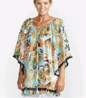 Haven - Tropical print pom pom beach Kaftan top Cover Up One Size.