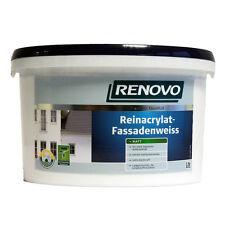 (4,94€/L) Renovo Reinacrylat Fassadenfarbe Matt 10,0 L weiss