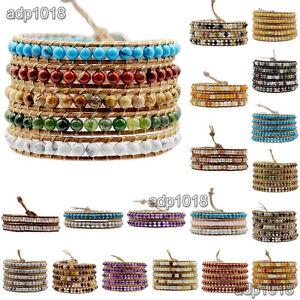 Hot Hand Made Natural Gemstones Beads Genuine Leather Wrap Bracelet