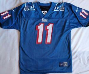 New England Patriots Reebok Jersey Bledsoe Reversable Blue And Black Size Large