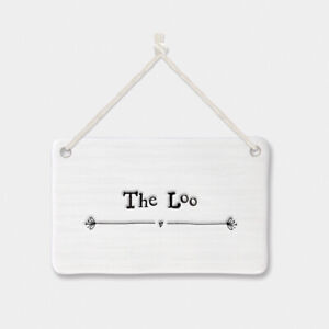 East of India Small Porcelain The Loo Toilet WC Hanging Door Sign Shabby Chic