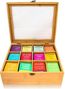 Natural Bamboo Tea Bag Organizer Box Storage Drawer Holder Sorter 12 Compartment