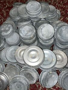 Lot of 72 Vtg Zinc canning Mason Jar lids w/ Porcelain liners BALL ATLAS Boyds