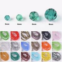 3mm 4mm 6mm 8mm Round (32 Facets) Faceted Crystal Glass Loose Spacer Beads Lot