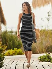 ATHLETA Sunkissed Midi Dress S SMALL Black/white   NEW Stripe Tank T-shirt $108