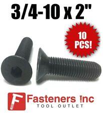 """(Qty 10) 3/4-10 x 2""""  Flat Head Cap Screw Black Oxide Thread Socket"""
