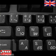 Czech Transparent Keyboard Stickers With White Letters For Laptop Notebook