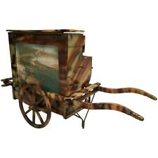 Faux Tortoise Music Cart w Miniature Painting ~ Cigarette and Matches?